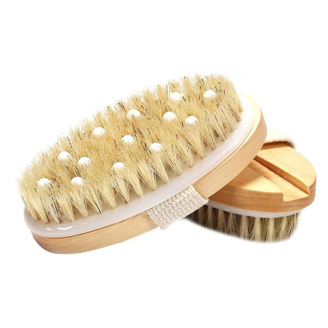 New 2 in 1 Natural Exfoliating Bristle Bath Brush Wooden Body Massage SPA Dry Brush - Bathes Brush Set Bathing Body Brush 5