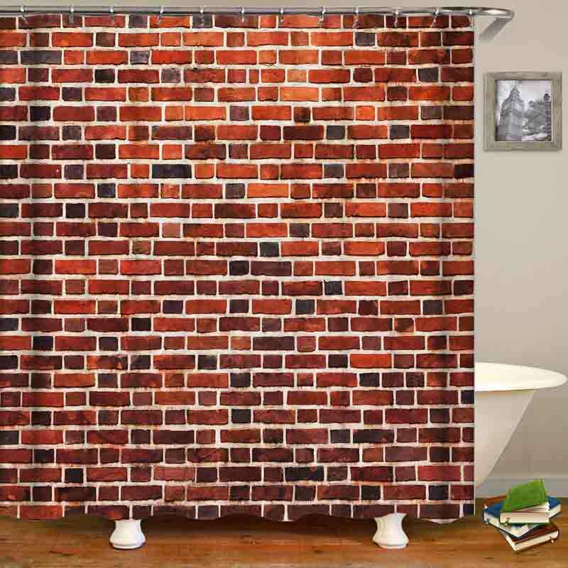 Red Brick Wall Waterproof Home Decor Bathroom Shower Curtain Polyester Fabric