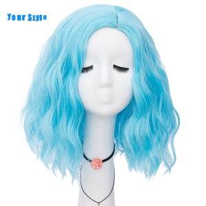 Женские синтетические короткие свободные волнистые волосы в стиле аниме, черные, красные, розовые, синие, серые, оранжевые