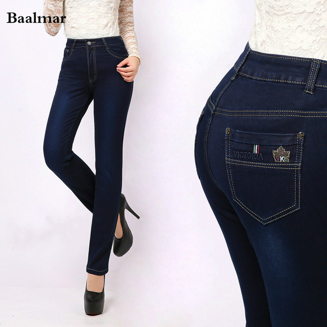 Waist Size Straight Navy Blue Woman Jeans Plus High Trousers In 2017 Spring Us26 0mom Denim Skinny Pants Stretch 35jqc4RLA