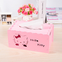 Hello Kitty Plastic Wood Board Tissue Box Hollow Carved Paper Towel Table Top Storage Box Paper