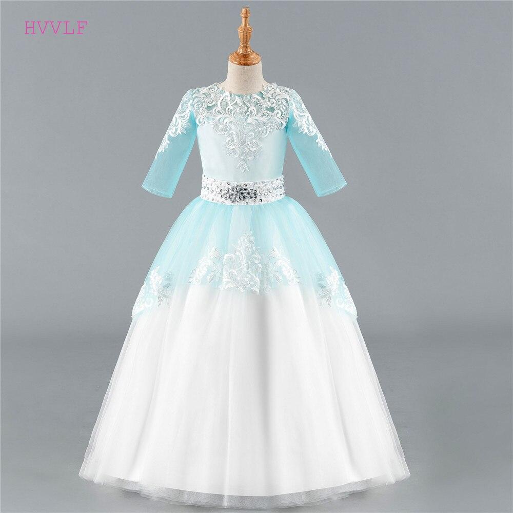 Blue 2018 Flower Girl Dresses For Weddings Ball Gown Half Sleeves ...