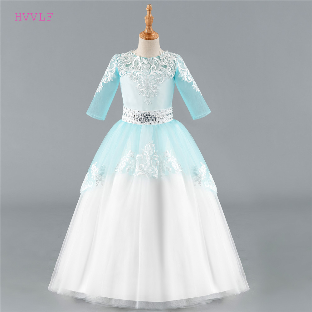 Blue 2019   Flower     Girl     Dresses   For Weddings Ball Gown Half Sleeves Tulle Lace Crystals First Communion   Dresses   For Little   Girls