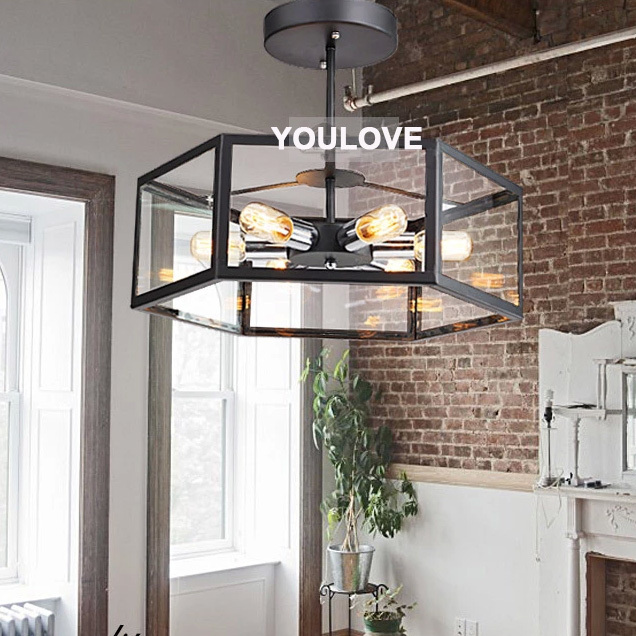 Nordic Vintage Black Ceiling Lamps American Country Industrial Ceiling Lights Fixture Home Indoor Bedroom Foyer Lighting D48cm