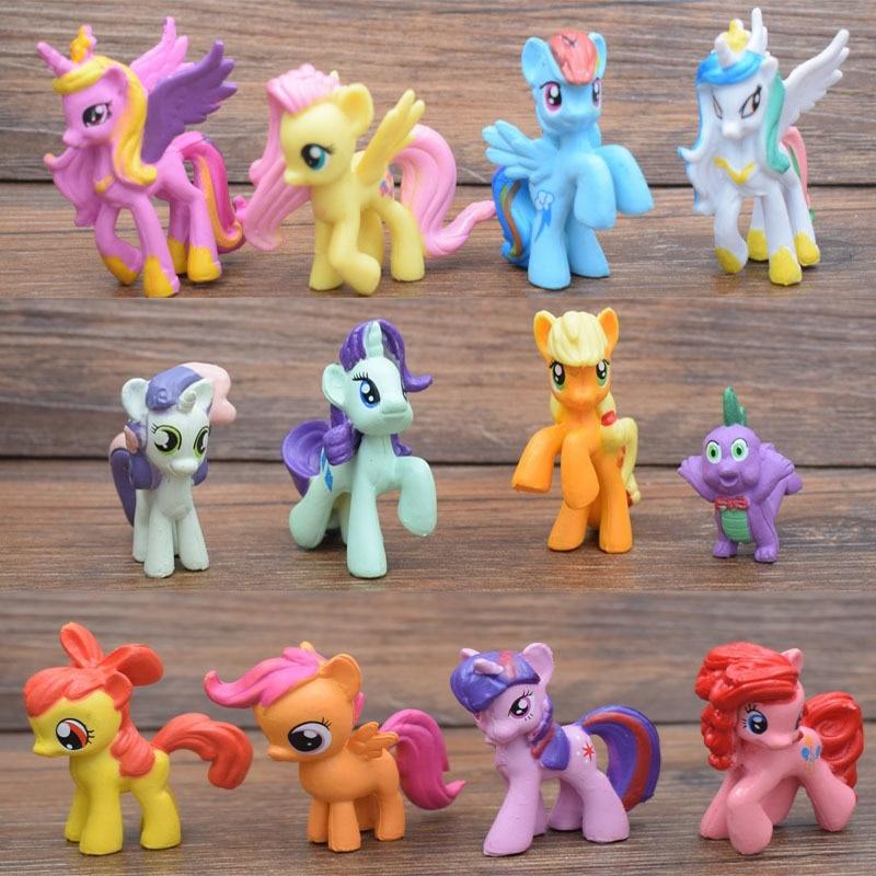 my little Horse Action Figures 12pcs/set LUCKY PIGLET Princess Luna Cartoon Pets Horse Unicorn  Toy Christmas Little Gift ponies