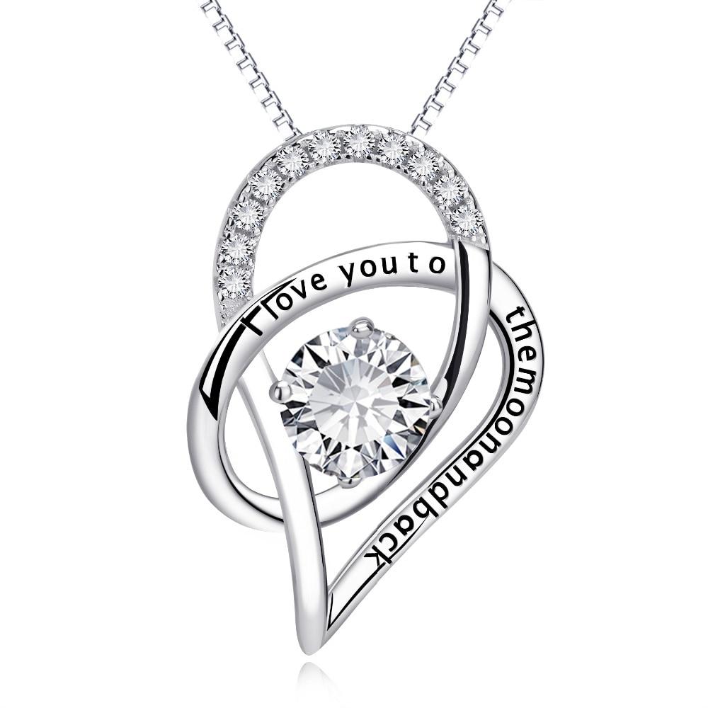 Collar con colgante de corazón con mensaje grabado en plata de ley 925 para joyería de mujer, Dropshipping
