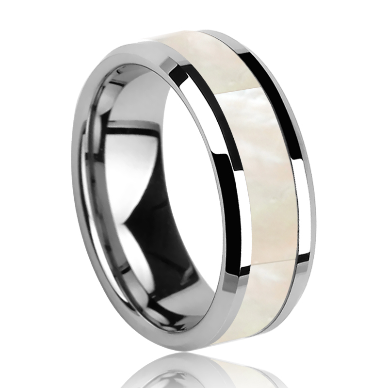 Titanium ring  for unisex with dual mother of pearl width 6 mm