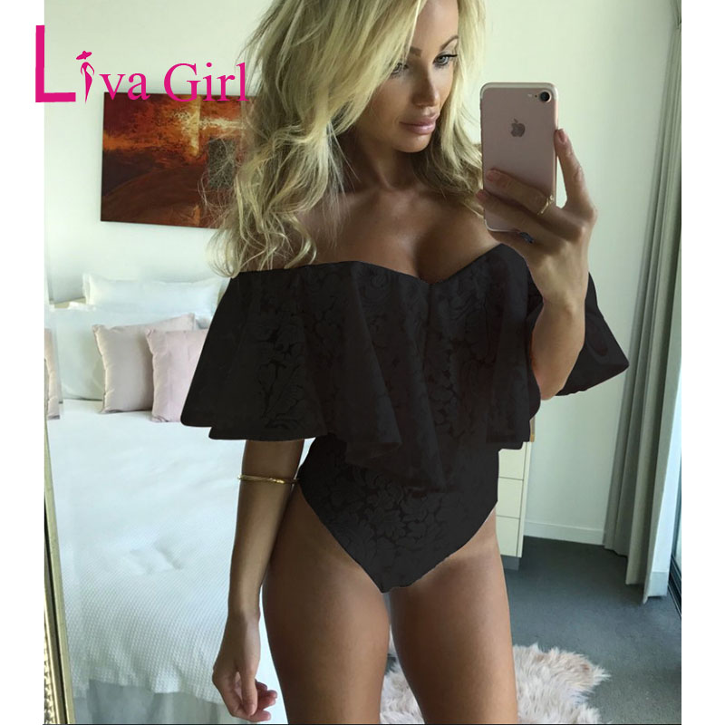 LIVA GIRL Plus Size Lace Bodysuit Ruffles Off Shoulder Rompers Overalls Women Sexy Mini Body Playsuit Mujer Bodycon Jumpsuit XXL