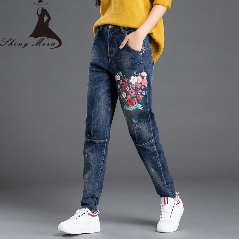 2017 Autumn jeans Women National Style Vintage Printed Flower jeans High Waist Female Harem Pants Loose Plus Size Lady Trousers 2017 autumn jeans women national style vintage printed flower jeans high waist female harem pants loose plus size lady trousers