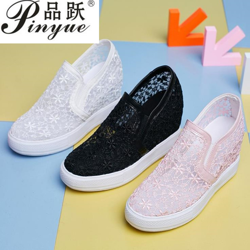Womens Lace Casual Breathable Sneaker Hollow Out Hidden Wedge Platform Shoes SZ