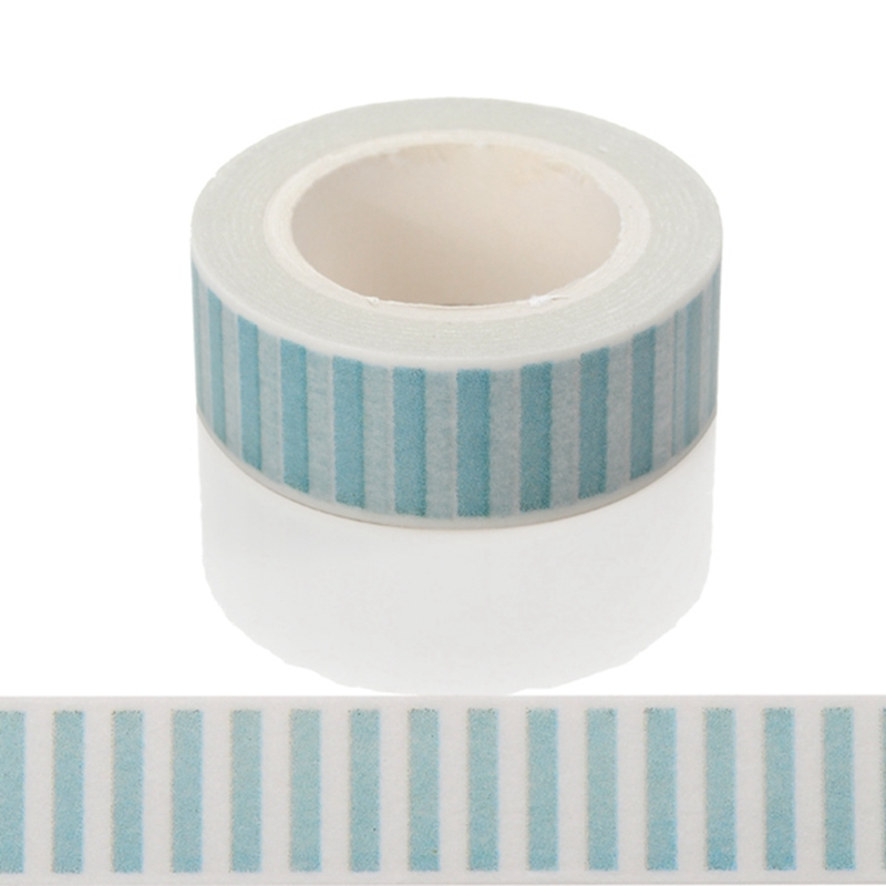 10m*15mm Light Blue Stripes Washi Tape DIY Decorative Tape Color Paper High Quality Office Adhesive Tapes Easy To Tear 1 PCS
