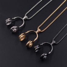 Music DJ Headphone Pendant Stainless Steel Chain Men Women Hip Hop Jewelry Rock Headset Necklaces Lovers Gifts XLCT002