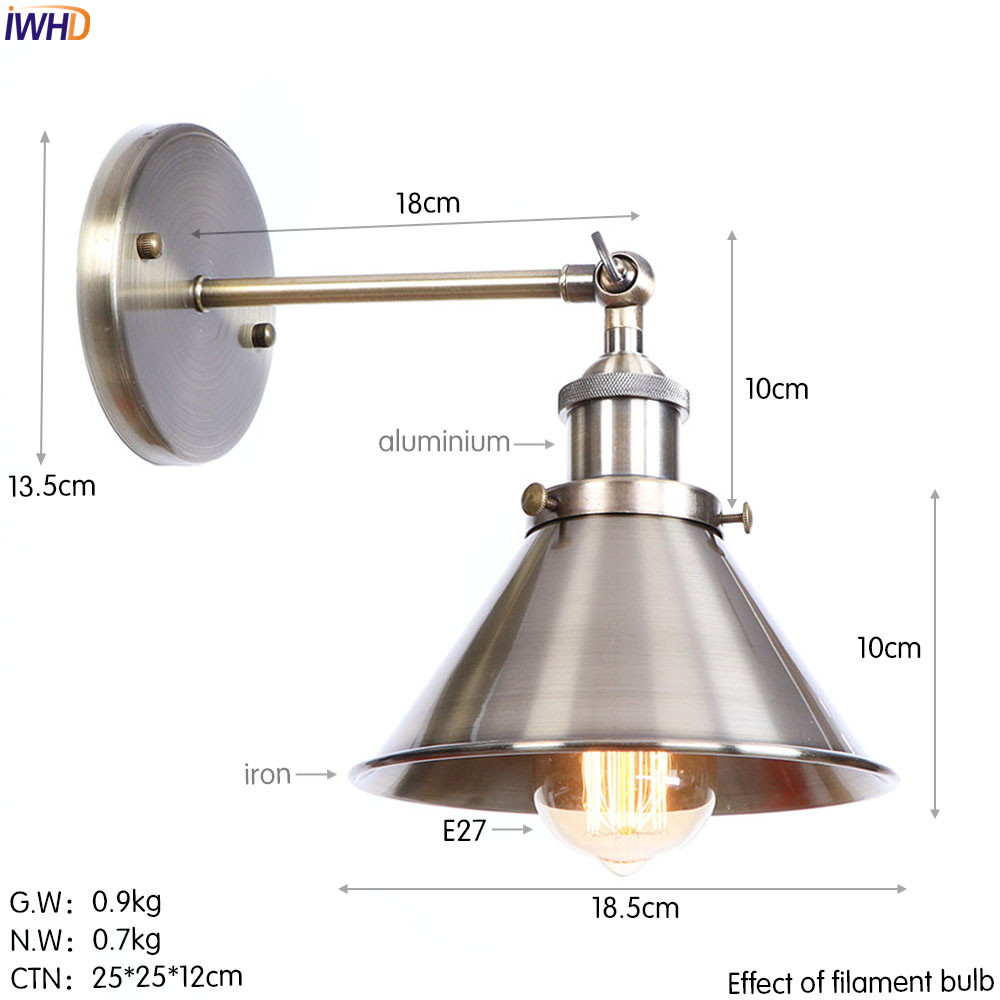 Iwhd brass color retro led wall light fixtures bedroom stair bathroom loft industrial antique wall lamp edison style lighting in led indoor wall lamps from