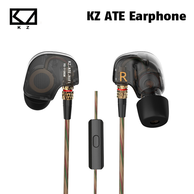 Original KZ ATE Copper Driver Ear In Ear Sport Earphone For Running With Foam Eartips With Microphone or Without Microphone 100% original kz atr copper driver hifi music headphones heavy bass in ear earphone with mic foam eartips headsets for pc mp3