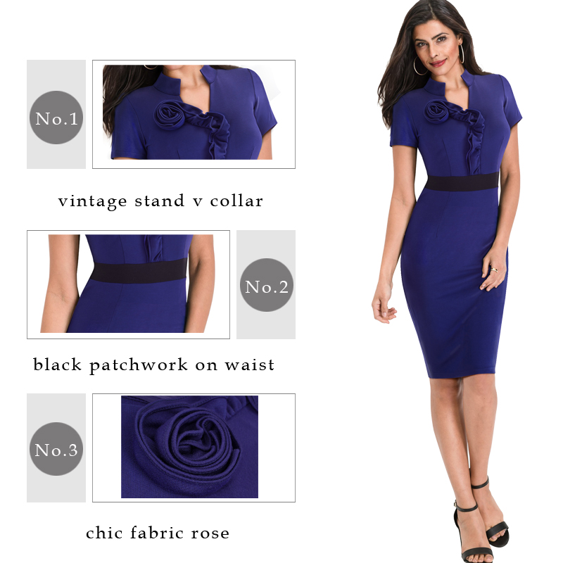 Elegant Rose Patchwork Office Pencil Dress