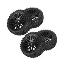 4pcs Replacement Rubber Wheel Rims & Tires for RC 1/10 Scale Off-road Car /Truck (Black) 8010 diy replacement plastic wheel tire for 1 10 model car toy off white black 4 pcs