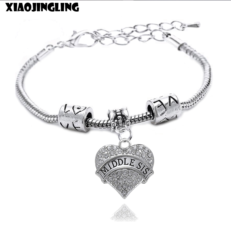 XIAOJINGLING Crystal Adjustable Bracelet Heart Rhinestones Pendant Middle Sis Family Gift Bracelets For Women For Best Friends