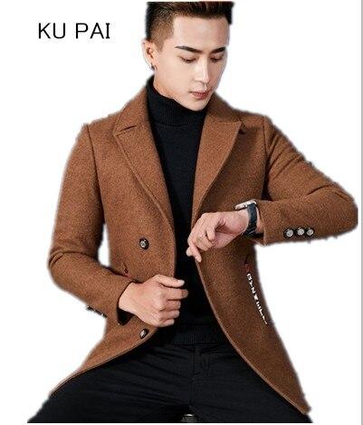 Ветровка Для мужчин длинный отрезок шерстяная куртка Для мужчин Осень и Зима корейские узкие Мужская шерстяная куртка одежда модная рубашк...