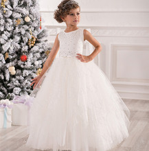 2016 Tulle Beaded Flower Girls Dress Shimmering First Communion Dresses Sleeveless Ball Gowns Girls Pageant Dresses For Wedding
