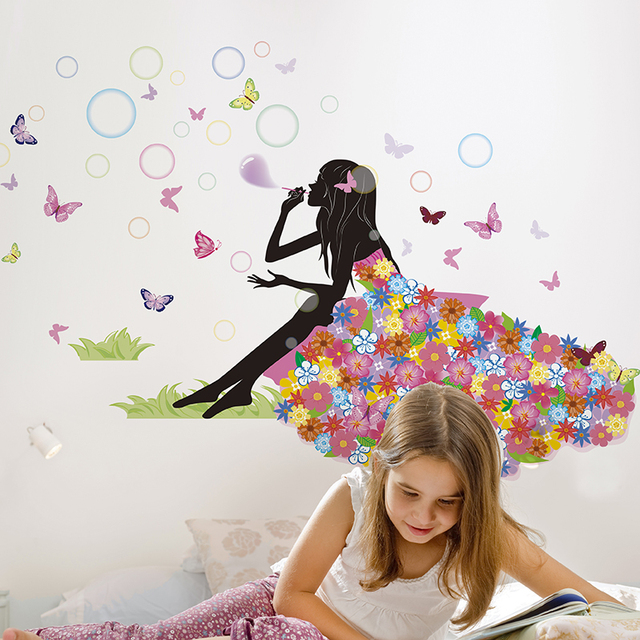 Girl Blowing Bubbles Wall Sticker Interior Design Cartoon Wall Art DIY Home Decor  for Kids Rooms Living Room Decoration