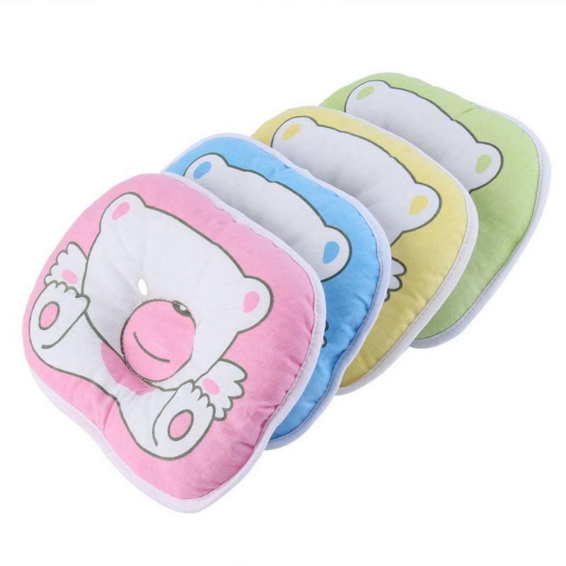 Cute Cartoon Comfortable Baby Bear Pattern Pillow Cotton For Cot White Toddler Kids Baby Pillow Green Yellow Pink Blue