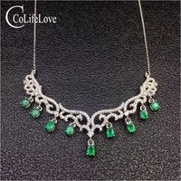 Luxurious emerald necklace for wedding 9 pieces natural zambia emerald silver necklace solid 925 sterling silver emerald wedding