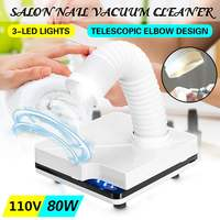 80W Nail Dust Collector Vacuum Cleaner For Manicures Suction Dust Cleaner Retractable Elbow Nail Dust Collector Nails Manicure