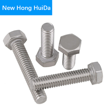 M4 DIN933 Hex Flat Head Bolts Thread Metric Hexagon Screws Electrical Machine Equipment Wheel Construction 304 Stainless Steel
