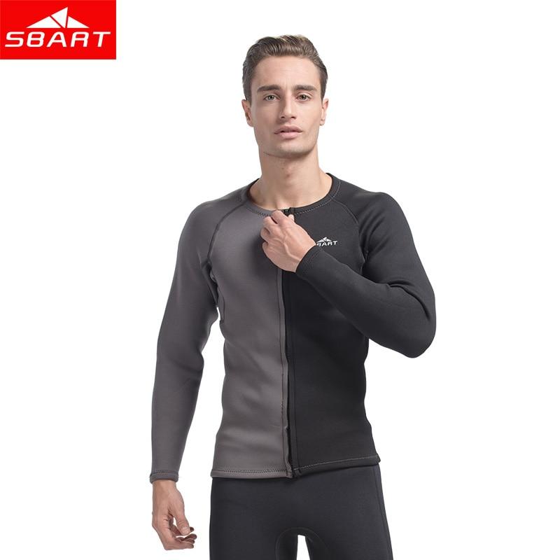 SBART 3MM Neoprene Wetsuit Men Top Long Sleeve Sunscreen UV Keep Warm Surf Rash Guard Jacket For Diving Swimming Wetsuit Shirt L