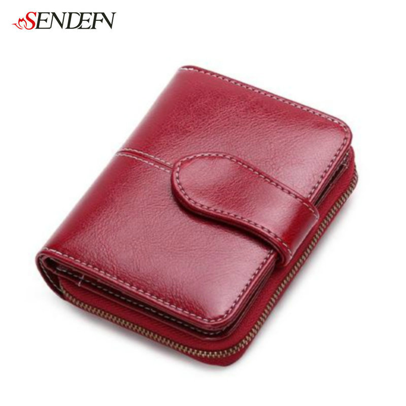 SENDEFN Fashion Split Leather Women Wallets Short Clutch Bank Credit Card Holder Coin Purse Zipper Wallet Female Purse Small New women leather wallets v letter design long clutches coin purse card holder female fashion clutch wallet bolsos mujer brand