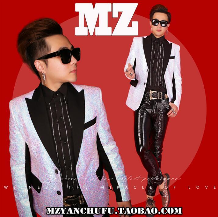 Hommes costume personnalisé diamant étincelant blazer mâle slim costume robe formelle DJ hommes Bar estilista vêtements veste manteaux 331