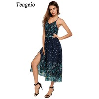 Tengeio Women Spaghetti Strap Floral Backless Dress V Neck Fashion Beach Sleeveless High Waist Split Chiffon