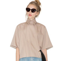 2017 Retro Style Preppy Fashion Shirt Turn Down Collar Slim Women Shirt Blouse For Wholesale And