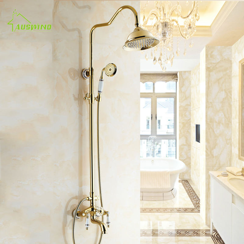 European Shower Set With Phone Style Arms 8 Inch Shower Head Antique Porcelain Brass Crystal Shower Faucet Gold/silver dragon head competitive slingshot antique brass silver