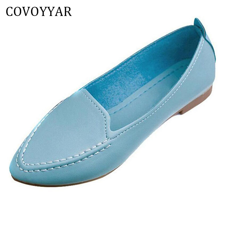 2018 Spring Summer Soft Solid Ladies Flats Loafers Comfort Casual Shoes Pointed Toe Woman Shoes Slip On Big Size 35-40 WFS532 cootelili 36 40 plus size spring casual flats women shoes solid slip on ladies loafers butterfly knot pointed toe soft shoes