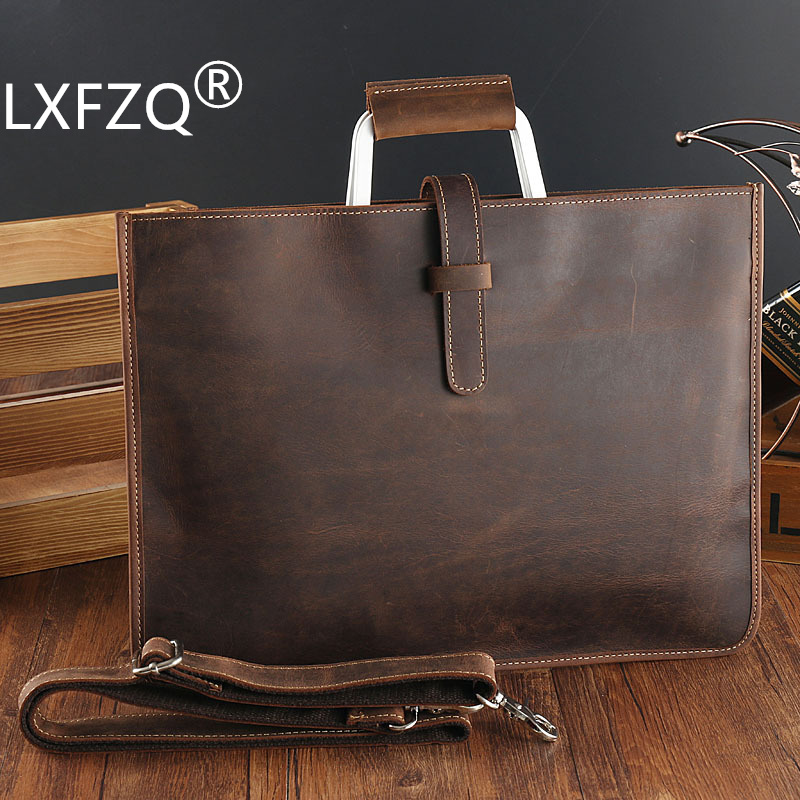 new Retro genuine leather handbag men's bags casual shoulder bag leather handbags messenger bag men leather purses and handbags-in Top-Handle Bags from Luggage & Bags    1