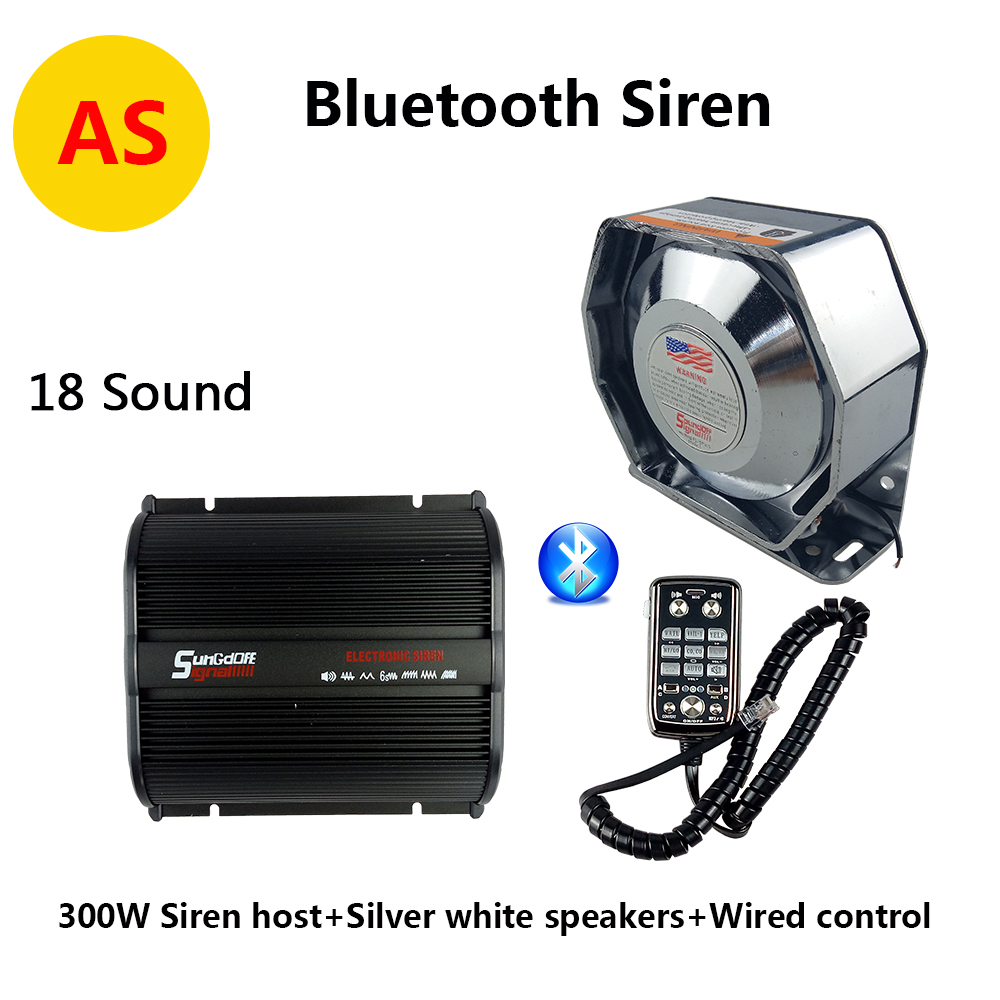 300w 12v bluetooth system car alarm police siren fire loud pa siren horn with ultra thin flat speaker easy to install