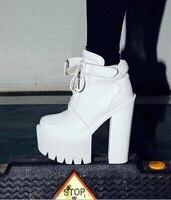 ฤดูใบไม้ร่วงฤดูหนาวยุโรปผู้หญิงหนารองเท้าส้นสูงแพลตฟอร์มข้อเท้าบู๊ทส์ร้อนแฟชั่นหนังPUผู...