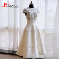 New Arrival 2017 Amazing Evening Prom Dresses O neck Ivory Lace Tea Length Amazing Cap Sleeves Elegant Women Gown LIYATT