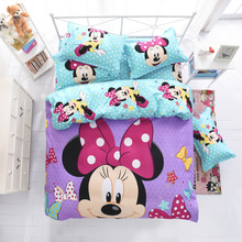 Disney mickey children bedding set queen full single size duvet cover sheet pillow case bed linen