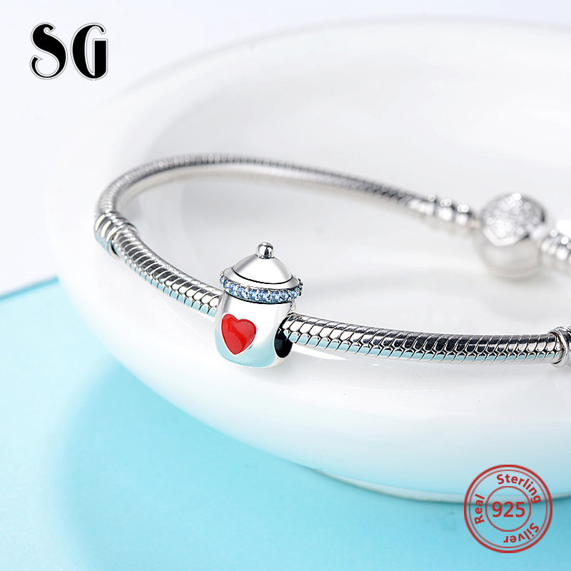 SG Silver 925 beads Lovely baby 39 s bottle charms with red heart shape Fit Original pandora bracelet DIY Jewelry making for Gifts in Beads from Jewelry amp Accessories