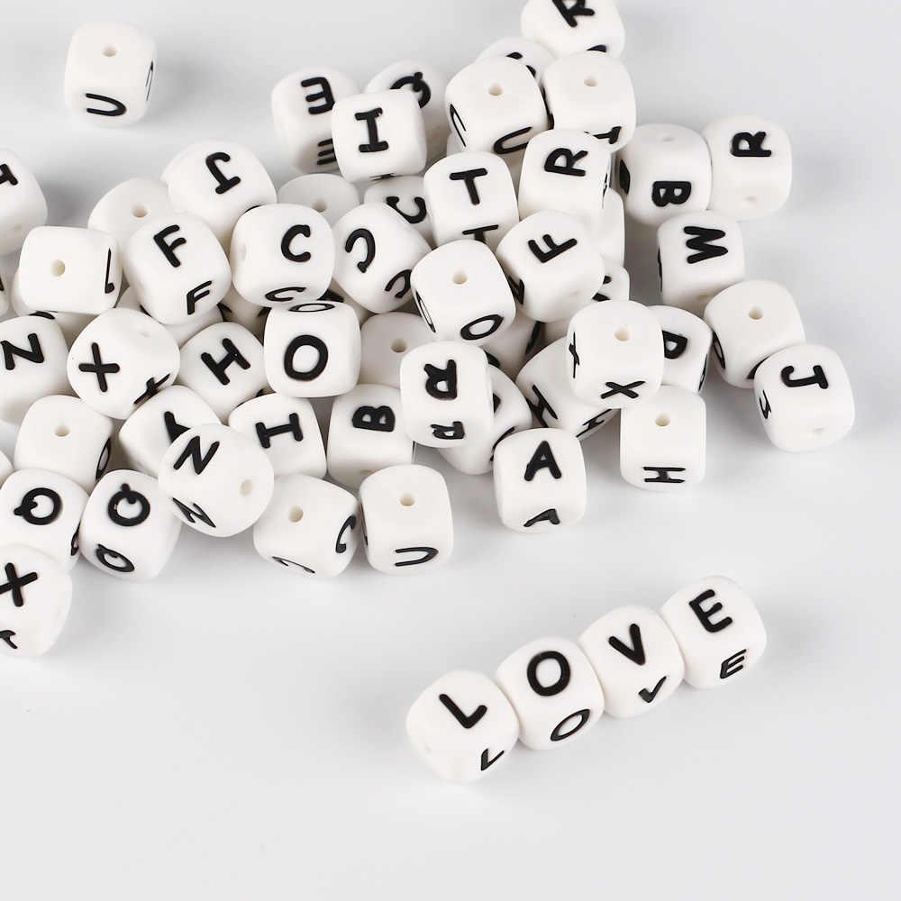 30 piezas de letra cuentas de silicona BAP libre DIY bebé dentición juguete personalizado nombre en cadena de chupete alfabeto inglés mordedor cuentas