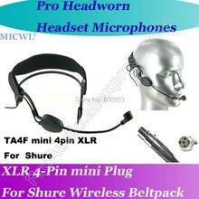 цены на MICWL ME3 condenser Head worn Headset Microphone for Shure Wireless mini XLR 4Pin  в интернет-магазинах