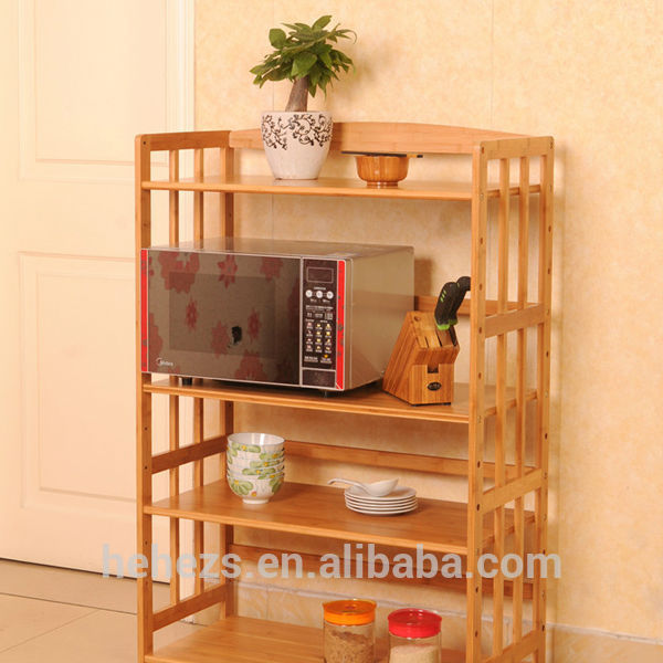 Smart Bamboo Kitchen Microwave Oven Stand For Storage Rack