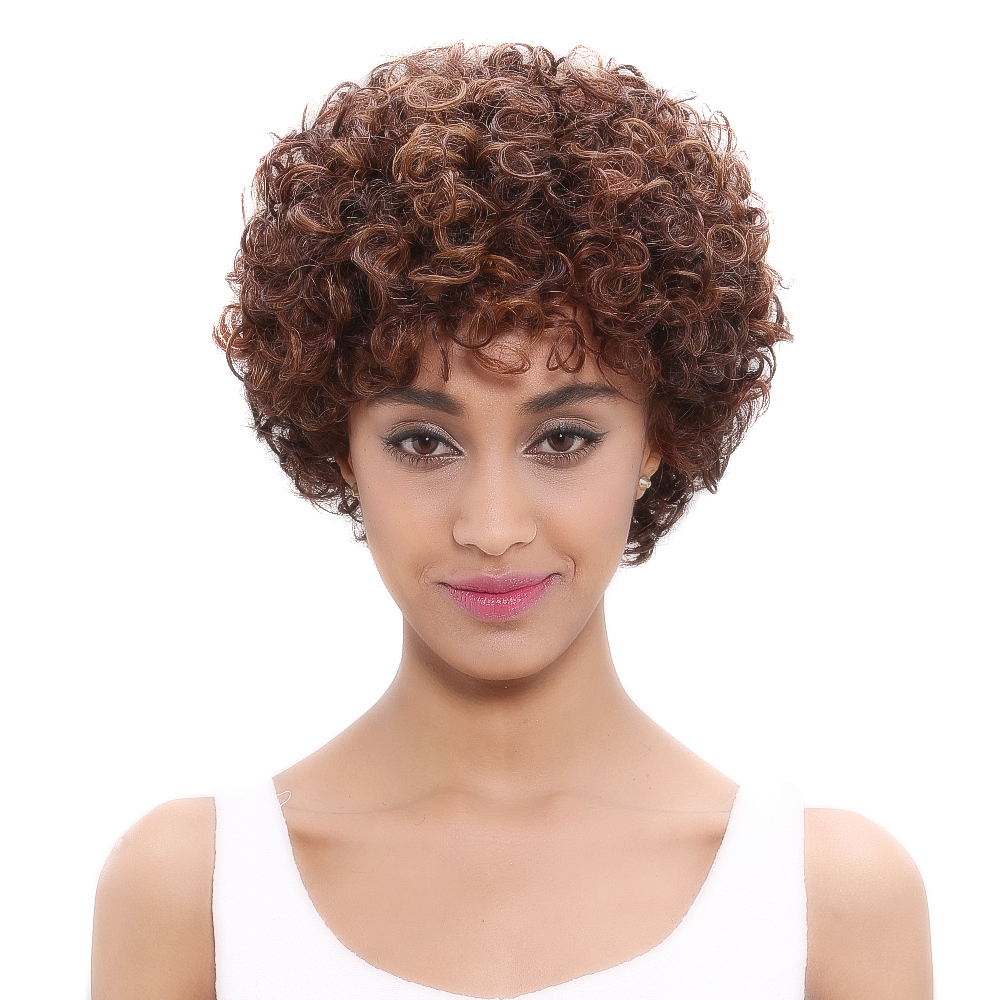 Debut Brazilian Remy Curly Human Hair Wig Spiral Curl Color DX1029 Blonde Short Human Hair Bob Wigs For Women Free Shipping