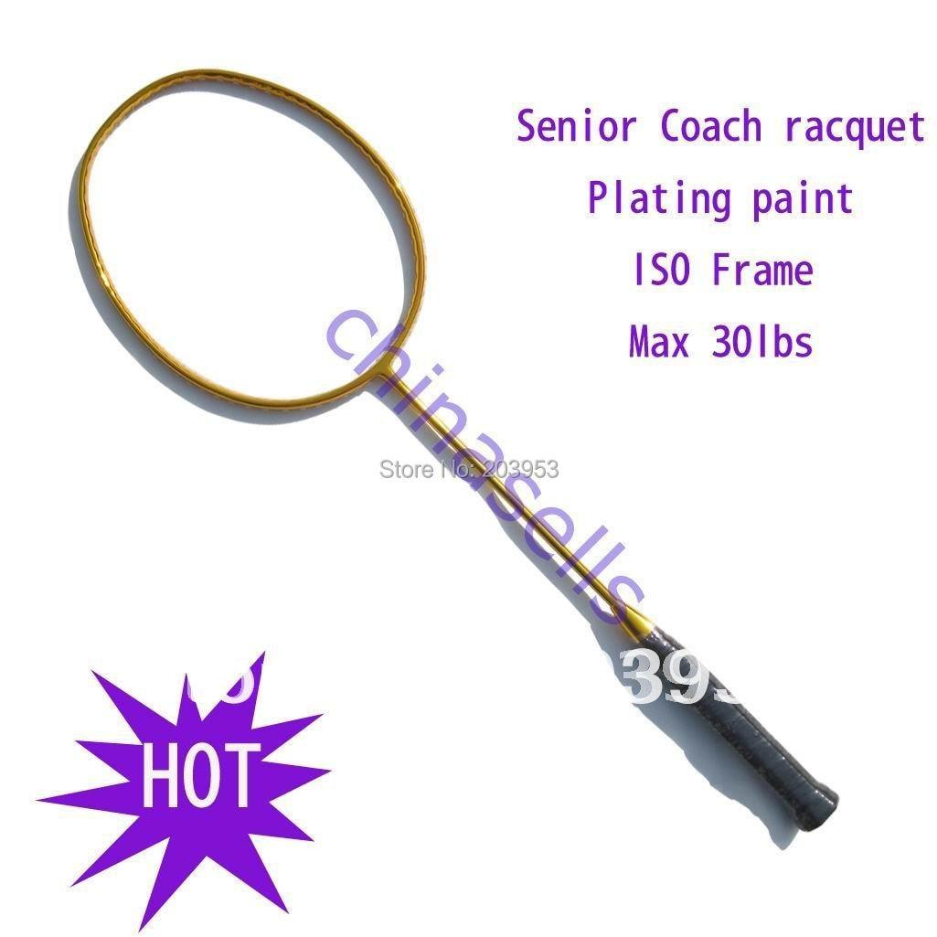 Coach dedicated badminton racket racquets no logo, New, 3 colour, 30Lbs, Full carbon, free 1 sweatband, 1 line  (already str