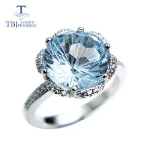 Image 1 - TBJ, רומנטי טבעת עם טבעי שמיים כחול טופז טופז כדורגל לחתוך חן טבעת 925 כסף בסדר תכשיטי עבור בנות כמו מתנה