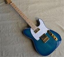 Factpry Custom Tele Guitar  telecastor blue color with flamed top TL guitars musical instrument shop,gold hardware