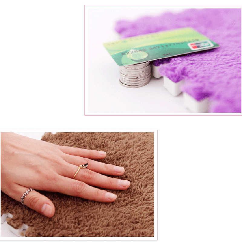 30 センチメートル暖かいぬいぐるみベビープレイマット 1 センチメートル厚さブルーピンク色ソフト毛皮パズル Eva フォーム床プレイマットカーペットクロール敷物ベビーマット