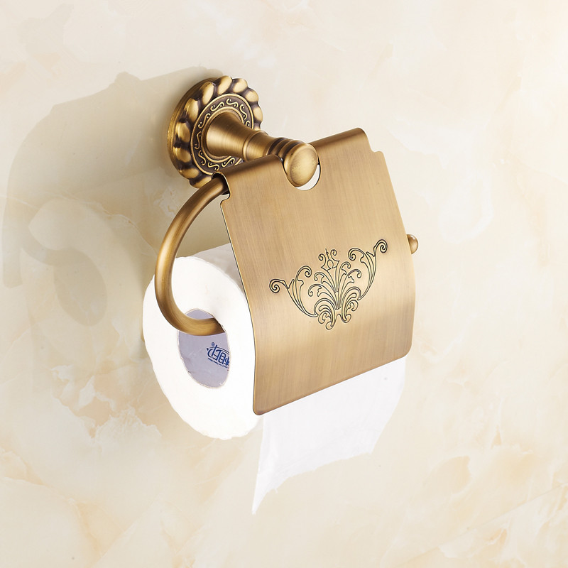 Antique Toilet Paper Holder Luxury Brass Carved Paper Holder Cover Wall Mounted Toilet Tissue Box Holder Bathroom Accessory black of toilet paper all copper toilet tissue box antique toilet paper basket american top hand cartons